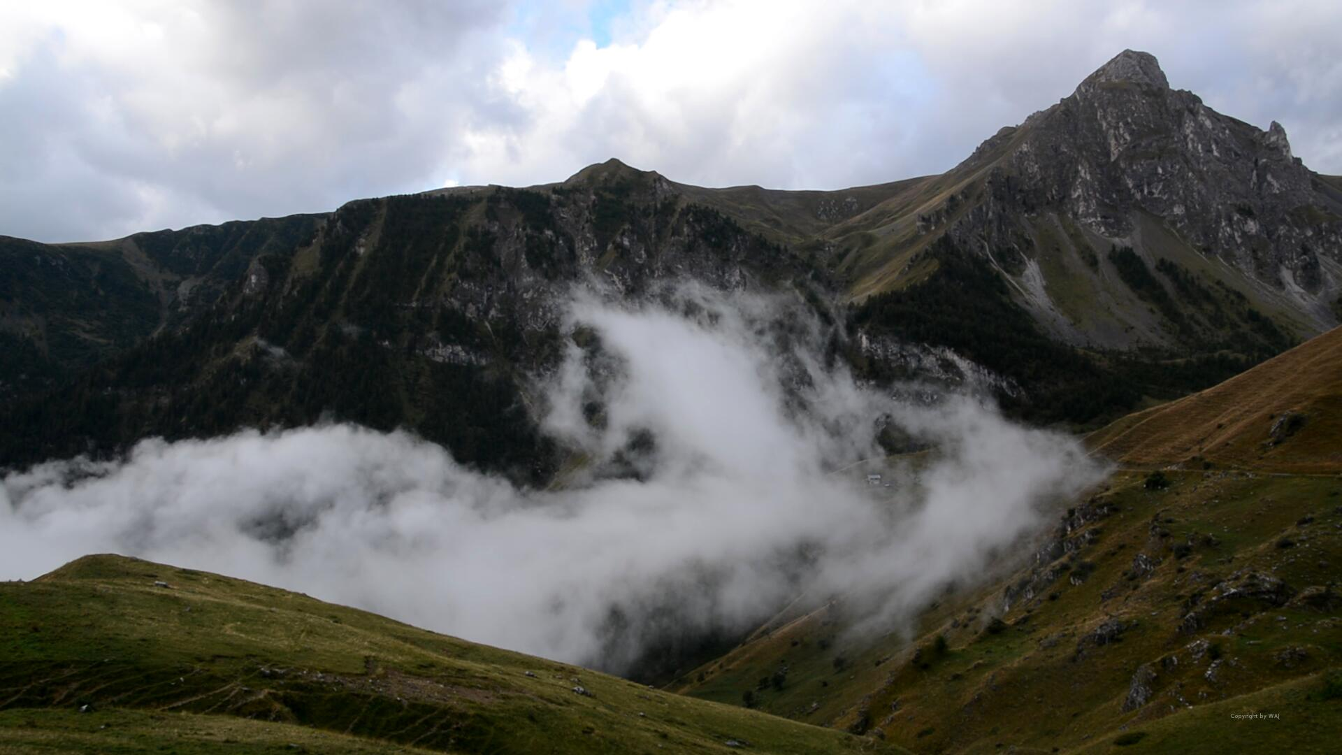 Nebel kriecht aus dem Tal...