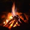 Blaue Flammen schlagen aus dem harten Holz.